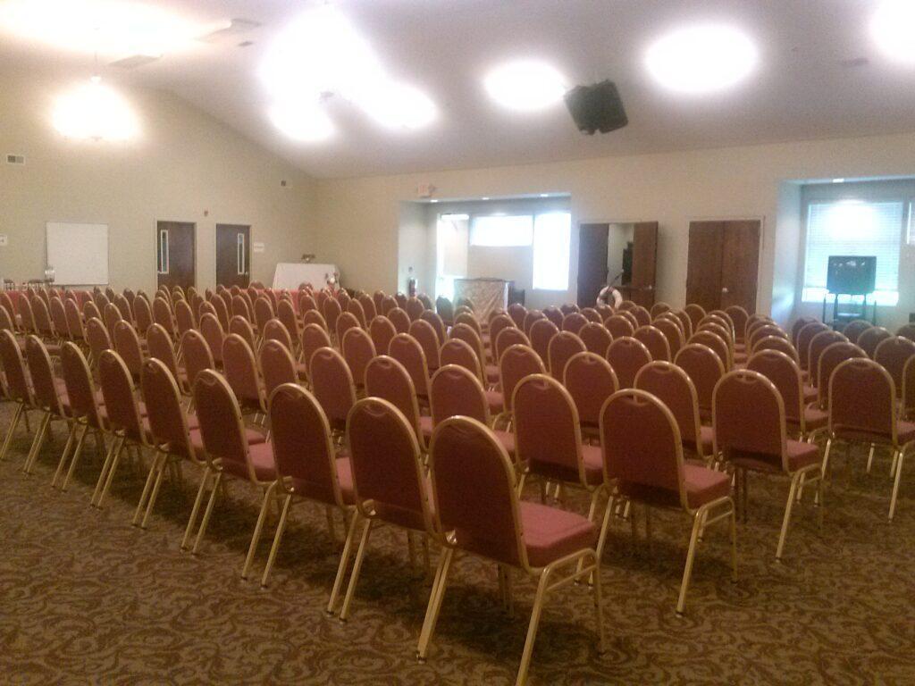 Grace Hall main room setup for meeting